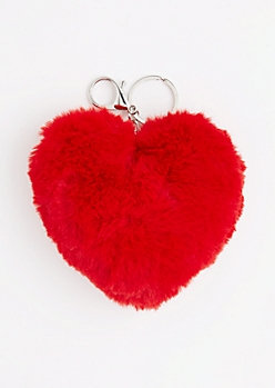 HEART PUFF KEYCHAIN-RED