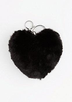 HEART PUFF KEYCHAIN-BLK