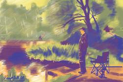 Jim fishing at Southend Farm