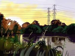 Hooks Marsh Sunset, Lee Valley Park, Eng
