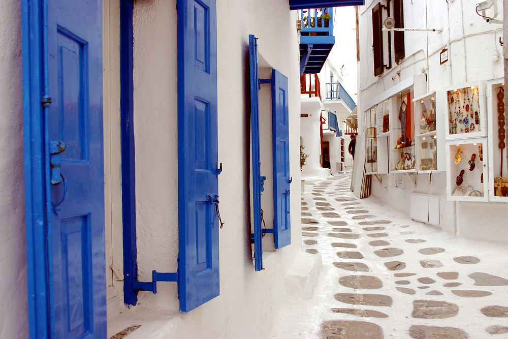 Luxury Mykonos streets and alleyways from classique event