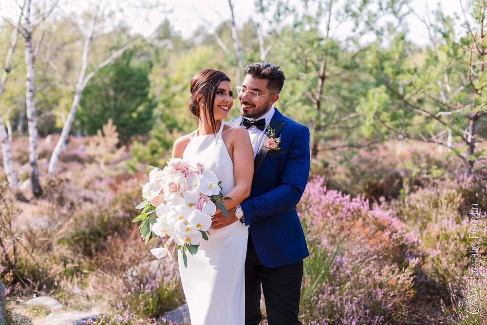 shooting photo couple de mariée forêt de Fontainebleau