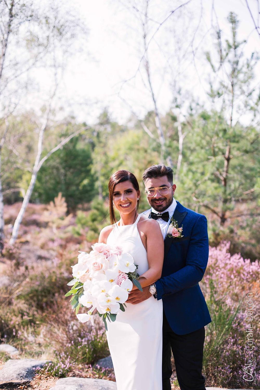 séance photo couple de mariée forêt de Fontainebleau