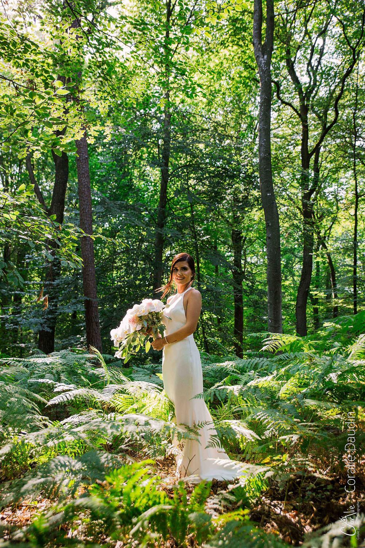 photo de la mariée forêt de Fontainebleau - Apremont