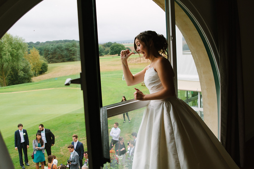Jeté du bouquet de la mariée au Golf d'Ableiges