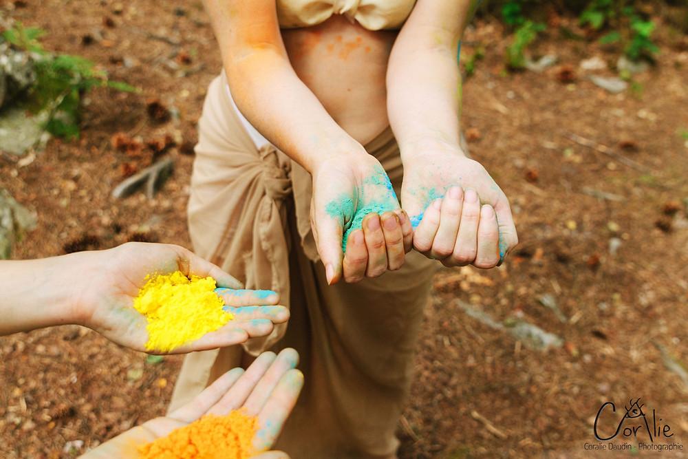 mains pigments nature