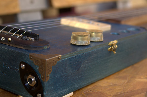Blue Cigar Box Guitar