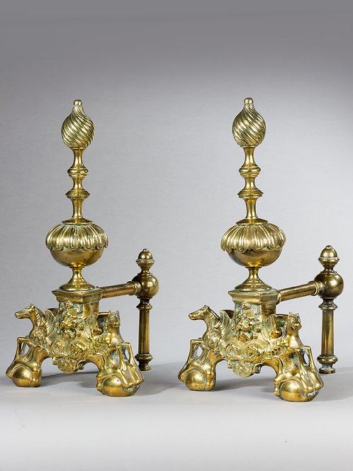 18th Century Pair Brass Andirons