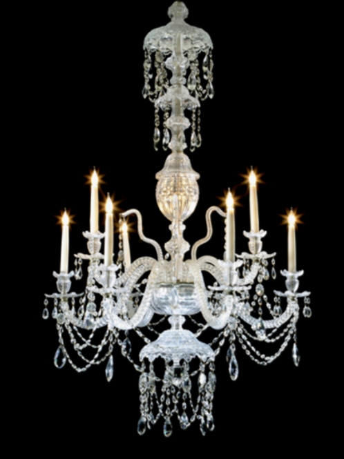 Fine Late 19th century Cut Glass Nine Light Chandelier