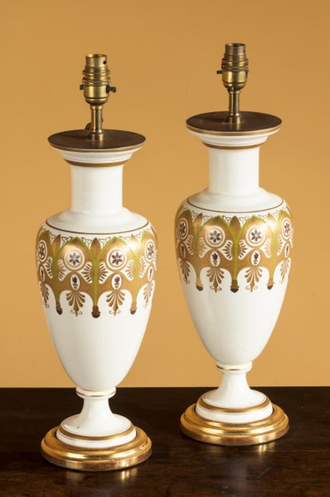 French Porcelain Lamps With Gilt
