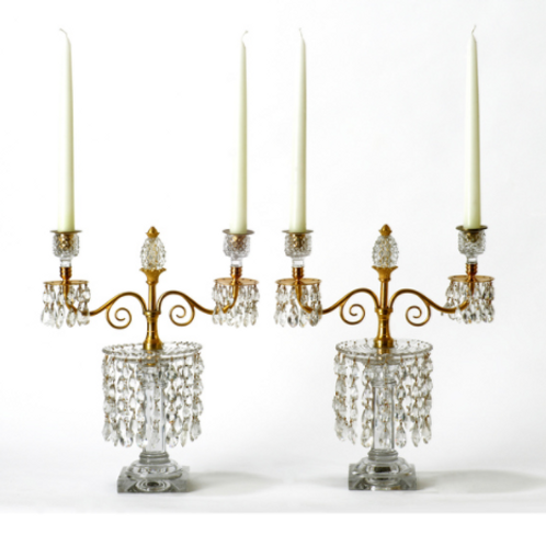 Fine Pair of Georgian Cut Glass and Ormolu Lustres