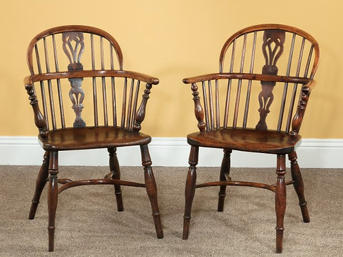 Yew Wood Splatback Windsor Arm Chairs
