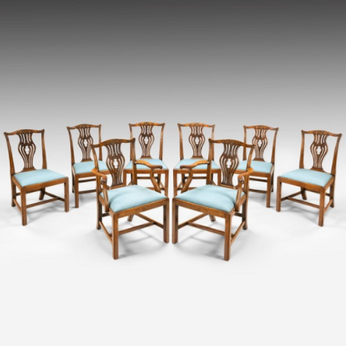 Set of 8 Chippendale Period Dining Chairs