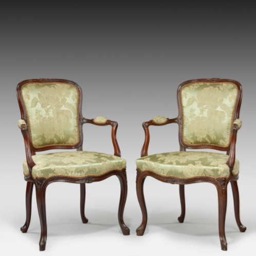 In the French Style Hepplewhite Period Salon Armchairs