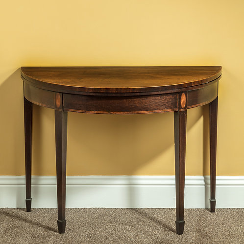 Sheraton Period Mahogany Demi-Lune Card Table
