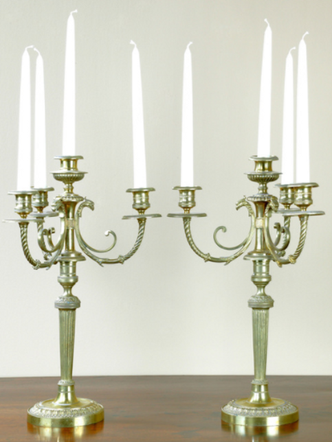 Pair of 18th Century Brass Four Branch Candelabra.