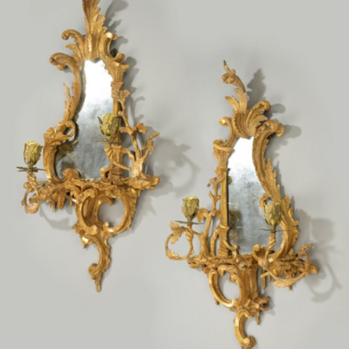 A Pair Of Chippendale Style Girandole Mirrors