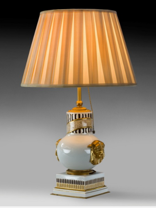 French Porcelain Antique Table Lamp