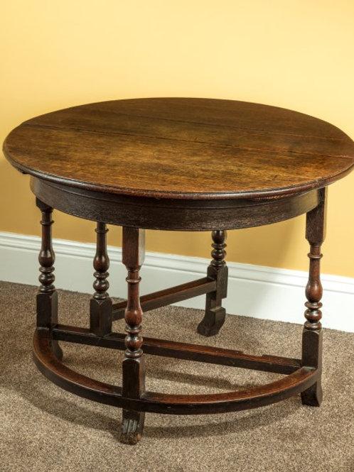 Rare 17th Century Oak Demi-lune Credents Table