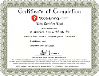 OSHA 30 Certification Jacob Herrick-Sove