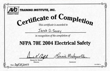 NFPA 70E Certification Jacob Herrick-Sov