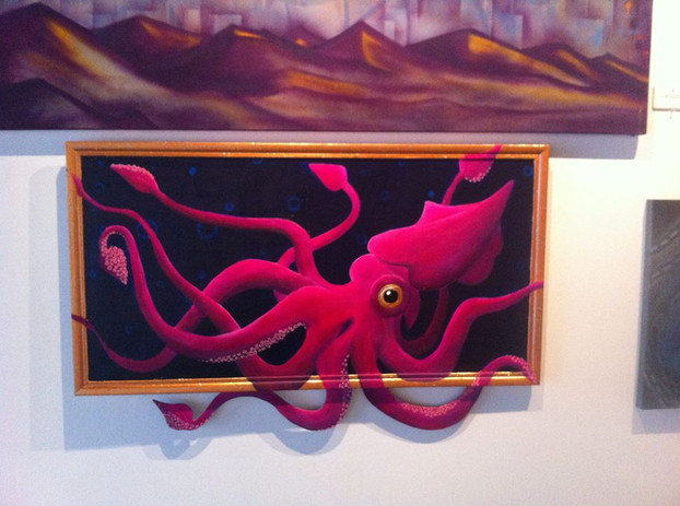 Squid, canvas w/ wood cut outs