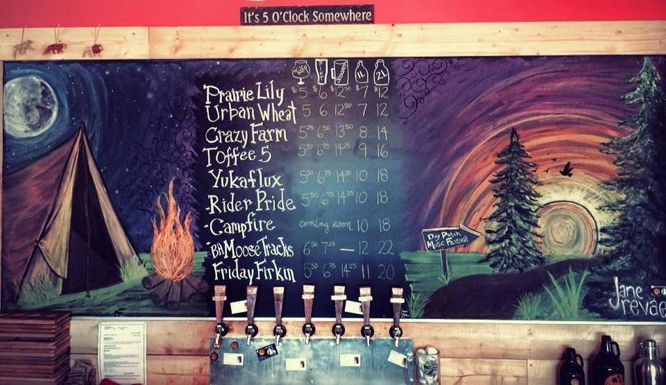 Chalk board for Prairie Sun Brewery