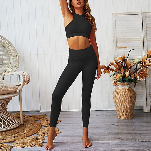 Quick Dry Black High Waisted Zipper Yoga Suit
