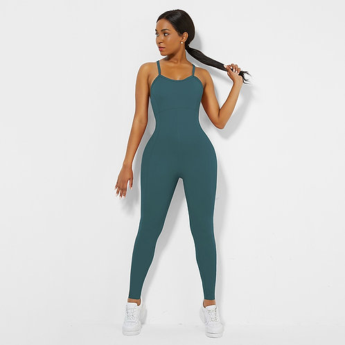 Blue Cross Back Pleated Sling Athletic Jump Suit