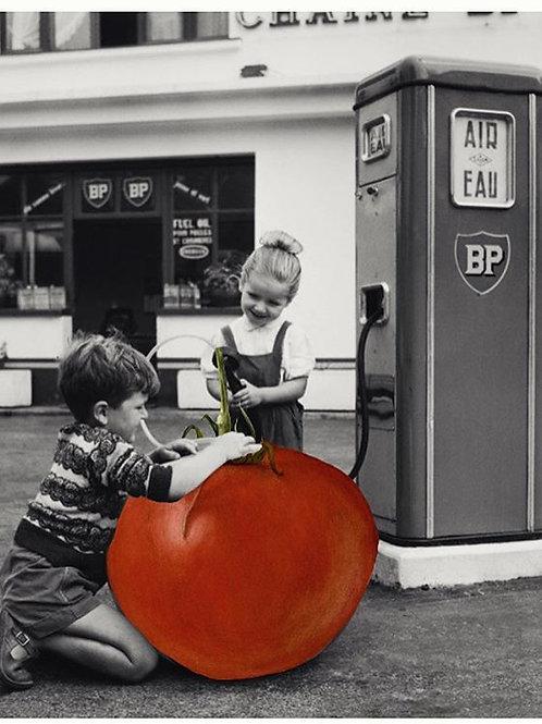 Cuadro original para casa de niños echando gasolina