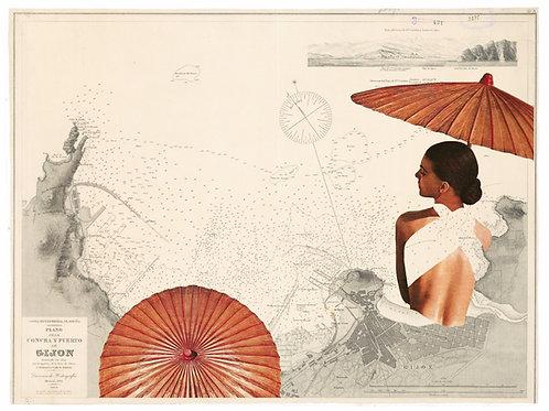 Collage de estilo asiático con mapa