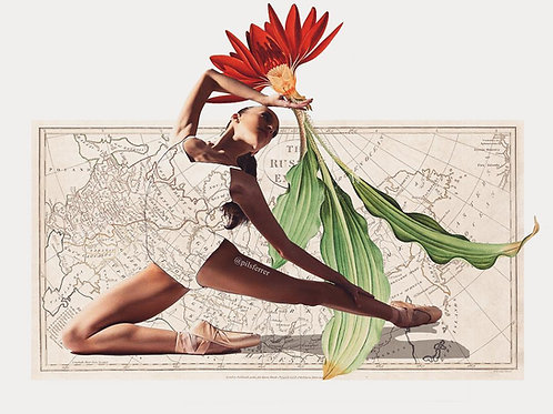 Collage de una bailarina con una flor y el mapa de Madrid de fondo