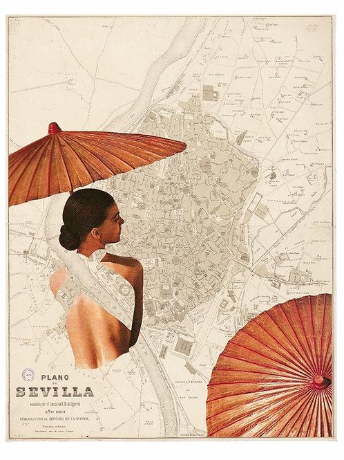 Collage con el mapa de Sevilla