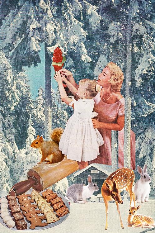 Collage de una mujer y su hija decorando el árbol de Navidad
