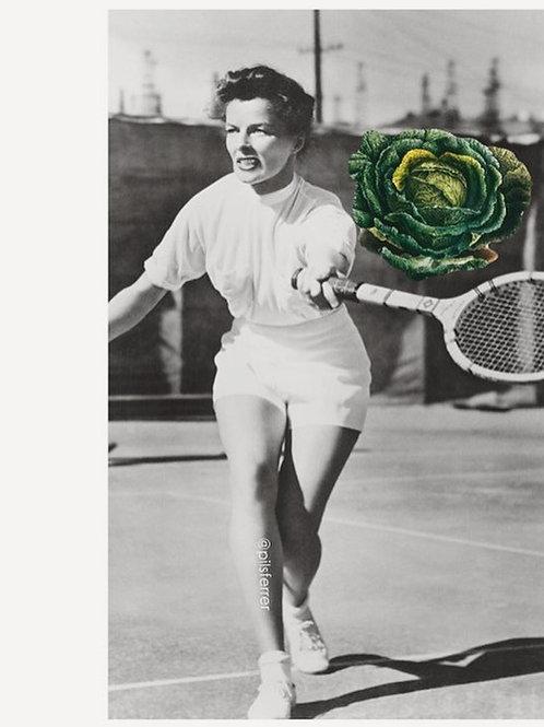 Cuadro original para la cocina de mujer vintage jugando al tenis