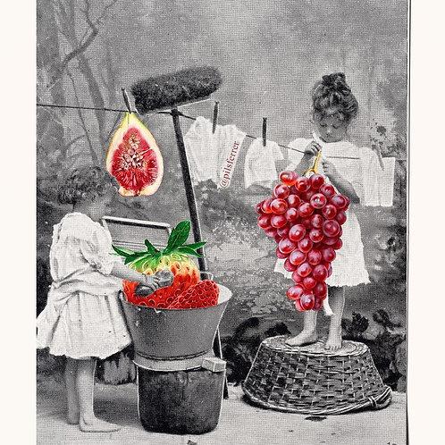 cuadro para la cocina de una foto antigua de unas niñas tendiendo la ropa