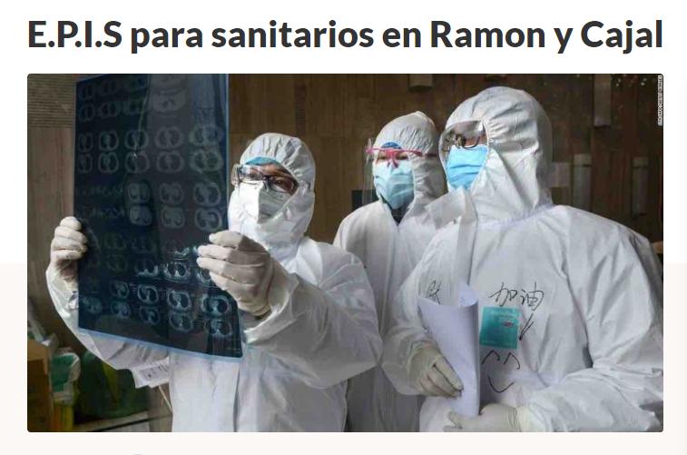 E.P.I.S para sanitarios en Ramon y Cajal