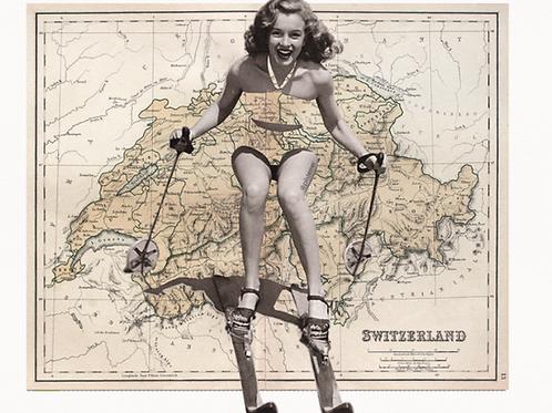 Cuadros originales para casa de mujer esquiando y mapa de suiza
