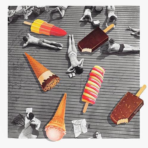 Cuadro de mujeres tomando el sol con helados de colores