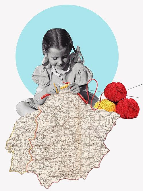 Collage de una niña tejiendo el mapa de España
