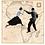 Collage del mapa de África con una pareja saltando