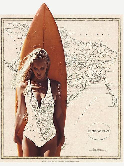 Cuadro original para casa del mapa de la India surf