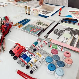 Materiales taller de collage Pilsferrer
