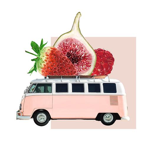 Collage de estilo surrealista de una caranava rosa con frutas en el techo
