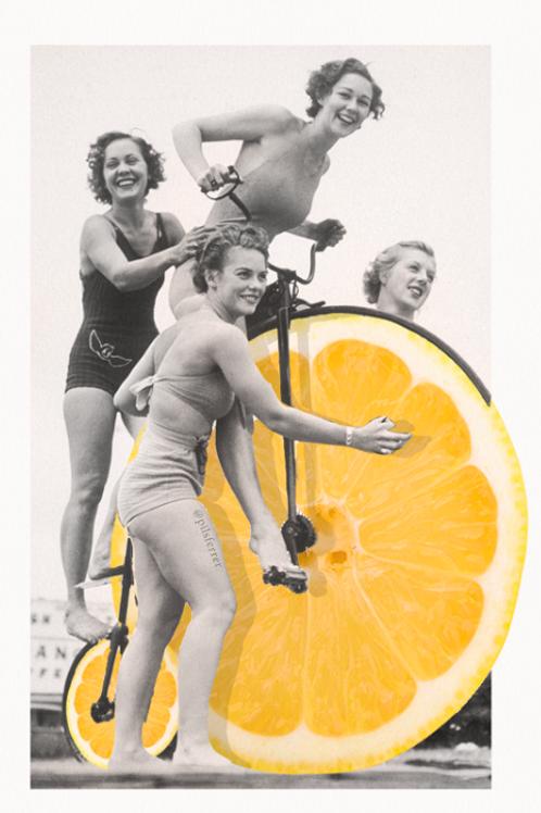 Cuadro para casa de mujer sobre una bicicleta de limón