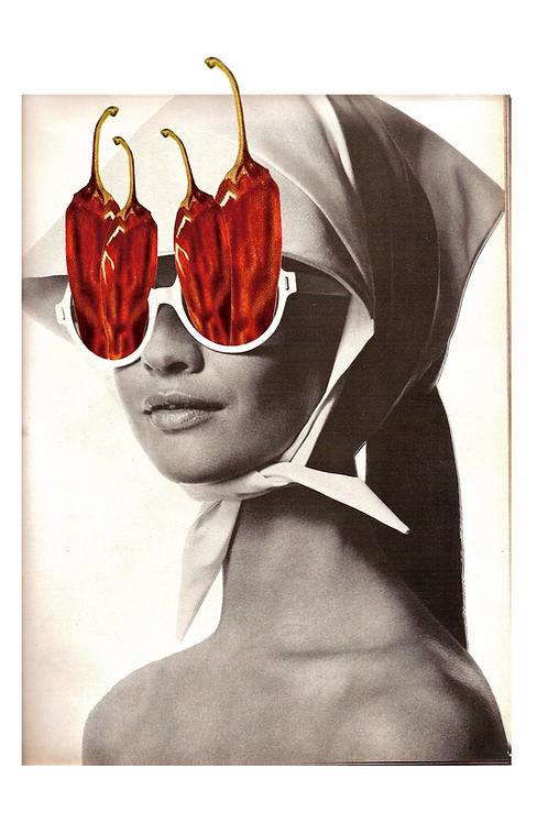 Cuadro original para la cocina de mujer y pimientos rojos