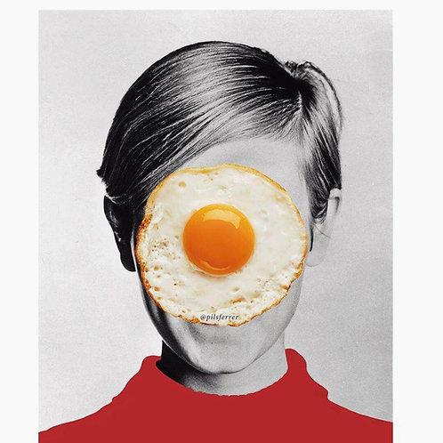 Cuadro de una mujer con un huevo frito