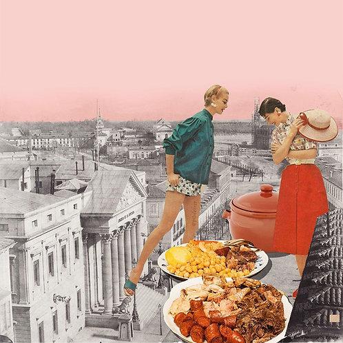 Collage de dos mujeres y cocido en Madrid