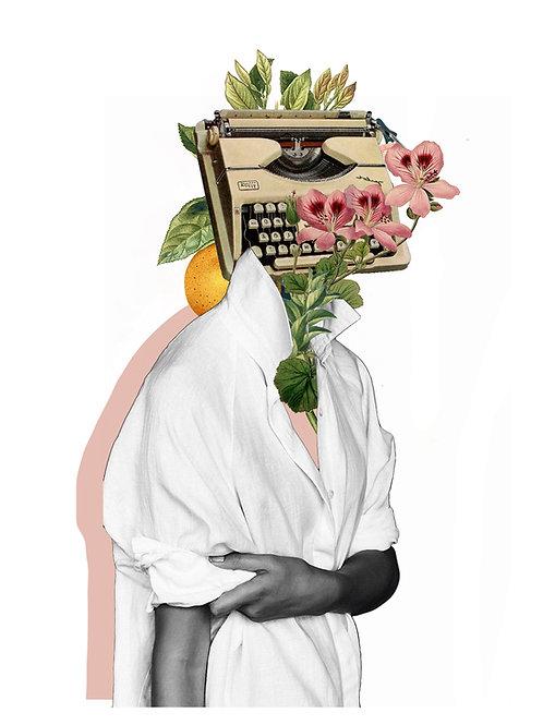 Collage de una mujer con una máquina de escribir como cabeza y flores