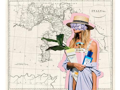 Imagen de mujer que se va a la playa con el mapa de Italia de fondo
